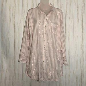 Size L Victoria's Secret Pink Striped Nightshirt